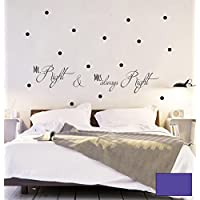 – Adesivo da parete Mr Right E Mrs Right con punti a pois Dots M1642, Lavanda, M - 100cm breit x 24cm hoch