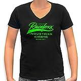 RACEFOXX V-Neck T-Shirt LADIES schwarz, Druck neon grün, Größe M