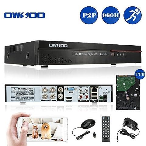 OWSOO DVR Digital Video Recorder 4CH Kanal Netzwerk ( Voll 960H/D1 h. 264 HDMI P2P Cloud) + 1TB HDD Unterstützung Audio Record Telefon Control Motion Detection E-Mail Alarm PTZ Überwachungssystem
