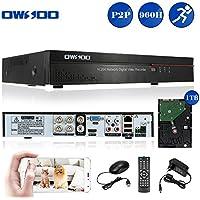 OWSOO DVR 4 Canales Grabador de Video Full 960H/D1 H.264 HDMI P2P + 1TB HDD Grabación Audio Control Móvil Detección de Movimiento Alarma Email PTZ para Cámara CCTV