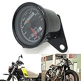 DXEWSE schwarz 12v Motorrad Roller Tacho Kilometerzähler Manometer 0-160km / h Motorrad Hintergrundbeleuchtung Dual-Geschwindigkeitsmesser mit