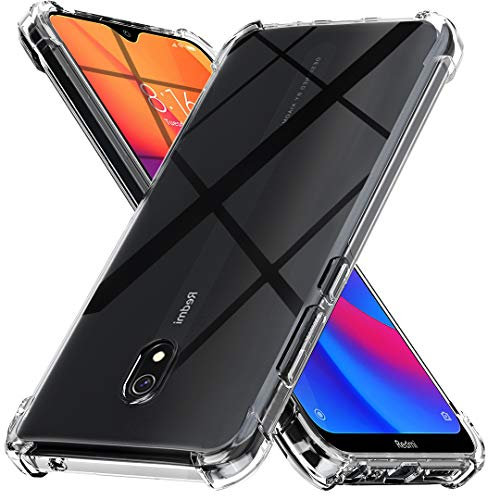 Capa Ferilinso para Xiaomi Redmi 8A, [Reforce a versão com quatro cantos] [Proteção para a câmera] Capa protetora em borracha TPU à prova de choque suave (transparente)
