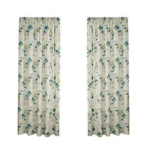 Montgomery Cherry Blossom Rideaux en polyester 52% et coton 48% Turquoise 229 x 137 cm