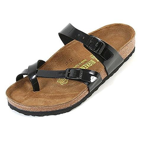 Birkenstock Mayari Birko-Flor, Women Thong Sandals Black Patent EU 37