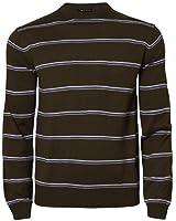 Mens Striped Jumper Crew Neck Casual Sweater Knitwear Top Blue Fire 26A-904, Brown, Medium