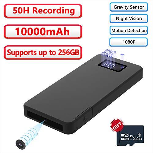 Mini Kamera 32GB 10000mAh 1080P Powerbank Kamera Tragbare Kleine Überwachungskamera Nanny Kamera mit Bewegungsmelder/Infrarot Nachtsicht/Schwerkrafterkennungsfunktion für Innen und Aussen
