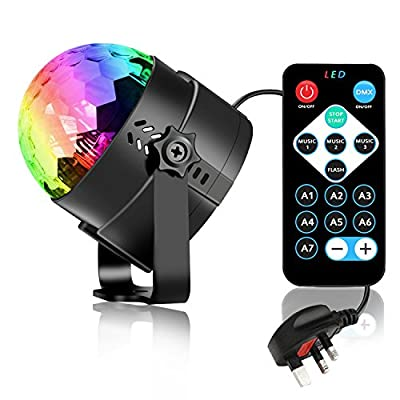 Disco Lights Disco Ball 3W RGB LED Strobe Light Karrong Music Activated Party Glitter Ball Lights with Remote Control, Mini Mirror Ball Rotating Lighting Effect for Home Kids Birthday Party Dance Karaoke Wedding Decorations