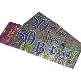 """Happy 50th Birthday Party-Striscione gigante da parete, 3 striscioni Decorazione per festa """"50 anni"""""""