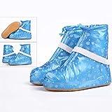 Regen-Überschuh YXX- Frauen-wiederverwendbarer PVC-wasserdichter Anti-Schlupf Anti-Schlamm Regen-Stiefel-Überschuh für Mädchen Jungen, einfach zu tragen, haltbar (Farbe : Blau, größe : 27.5cm)