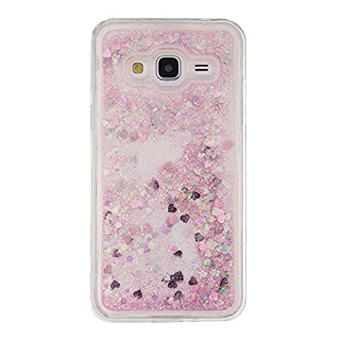 Skitic Liquid Glitter Case for Samsung Galaxy J3 2015/J3 2016, Soft Touch TPU Silicone Funny Design Transparent Back Bumper Protection Cell Phone Case Cover for Samsung Galaxy J3 2015/J3 2016 - Pink
