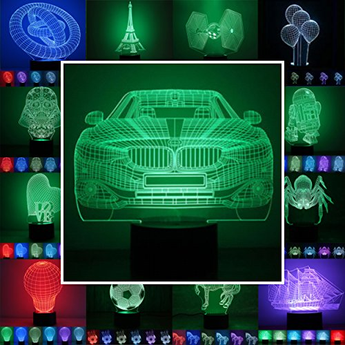 3D Lampe 3D Leuchte 3D LED Stimmungslicht. 7 Farben - Auswahl aus 81 verschiedenen Motiven, hier Auto 1 ca.16x19cm inkl.Sockel - 3D Illusion Dekolicht mit USB Anschluß und 220V USB Netzteil