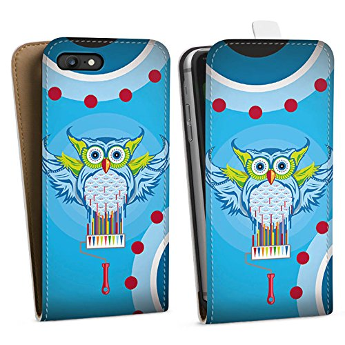 Apple iPhone X Silikon Hülle Case Schutzhülle Eule Bunt Comic Downflip Tasche weiß