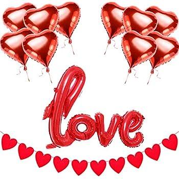 D coration saint valentin coeur rouge suspendu x 6 amazon - Decoration coeur rouge ...