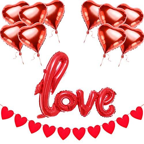 Addobbi san valentino | decorazioni per matrimonio san valentino - palloncini a forma di cuore elio | rossi palloncino love | ghirlanda cuore | 10m nastro a palloncino, 13 pezzi