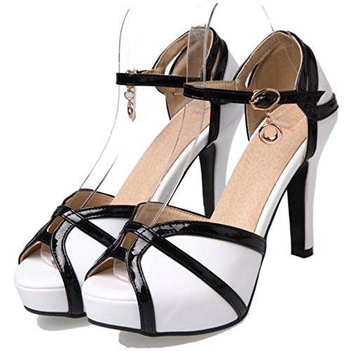 TAOFFEN Femme Elegant Peep Toe Plateforme Sandales Talon Aiguille Chaussures Bride Cheville Boucle Blanc