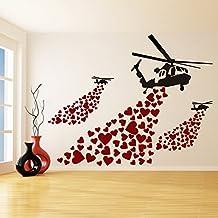 (80x63 cm) Banksy Vinilo Adhesivo Pared Helicóptero con corazones / Arte Callejera Graffiti Helicópteros Decoración Pegatina / Amor De Corazón Mural + Gratis Al azar adhesivo Regalo