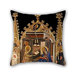Oil Painting Circle Of Ferrer I Arnau Bassa - Annunciation And Three Kings Of The Epiphany Throw Pillow Case 16 X 16 Inches/40 By 40 Cm Gift Or Decor For Home Seat Family Teens Boy Friend Teens