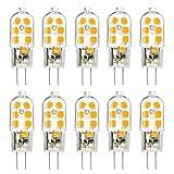 TINS G4 LED Lampe, G4 3W LED Birne, AC/DC 12V, 12 x 2835 SMD, 150LM, 3000K Warm weiß, 360 Licht Winkel, , Kein Flimmern Energiesparende Lampe, Birne Nicht Einstellbarer, 20W Halogenlampe Ersetzen Kann, CRI > 75, G4 LED Birne, 10er Pack