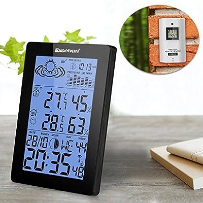 EXCELVAN Funkwetterstation LCD Tabla Funkuhr Wecker, Thermometer Außensensormit Präzisionsvorhersage Temperatur Feuchte Mond Barometer Schwarz von Excelvan bei Du und dein Garten