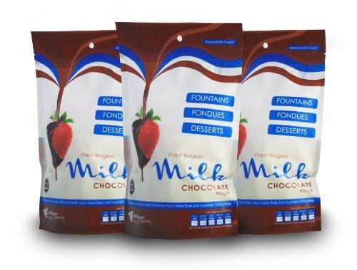 Meilleurs sacs de chocolat au lait Belge 900g x 3 - Fontaine de chocolat