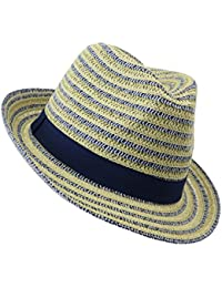 EveryHead Fiebig Chica Trilby Fedora Gorro De Papel Equinácea Sombrero Verano Moda La Marca Fiesta Vacaciones A Rayas Para Niños (FI-69776-S18-MA8) Incl Hutfibel