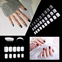 Puntas de uñas falsas cuadradas cortas, 600 unidades de uñas postizas acrílicas de cobertura completa