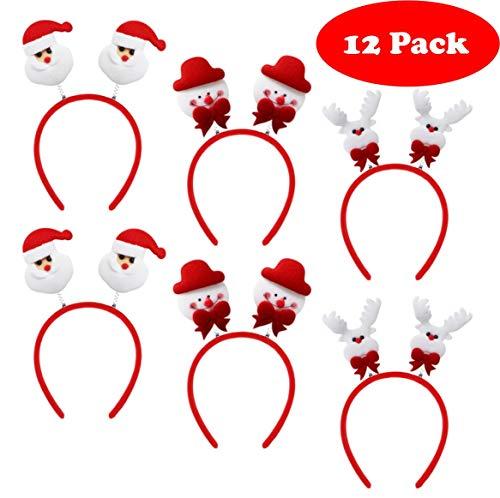 Moji 12 saisonale Kopfbedeckungen für Weihnachtsschmuck - 3 Verschiedene Designs - ideales Haarschmuck für Erwachsene und Kinder - ideal für Weihnachts- und Neujahrsfeiern - Kostüme & Events