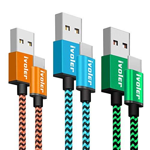 iVoler USB C Kabel auf USB 3.0 - [3 Stück: 1m+1m+1m] Datenkabel - Schnelles Aufladen und Synchronisation - Nylon Geflochtene USB Typ C Ladekabel Kompatibel für Typ C Geräte - Blau Orange Grüne Oem-lg Wand