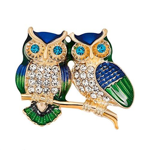 Nikgic Colorful Lady Fashion Einfache Zwei Eule Gold Diamant Brosche Frauen Jacke Brosche Schmuck Geschenk Zubehör