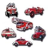 Kühlschrankmagnete Feuerwehr 6er Magnete Geschenk Set mit Motiv Feuerwehrautos stark für Magnettafel, Rot Bunt
