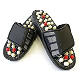 Healthllave Acupressure Slippers | Foot Massager Sandals For Pain Relief & Total Health Care Useful for Heel Pain (6, Best Quality - Black & White)