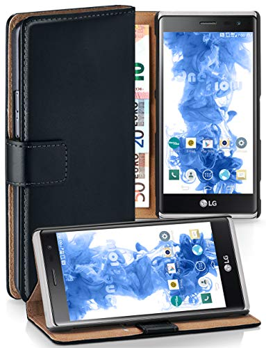 moex LG Zero | Hülle Schwarz mit Karten-Fach 360° Book Klapp-Hülle Handytasche Kunst-Leder Handyhülle für LG Zero/Class Case Flip Cover Schutzhülle Tasche