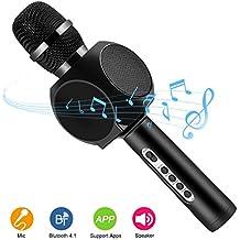 Inalámbrico Bluetooth micrófono de karaoke altavoces HURRISE micrófono reproductor grabadora con teléfono Soporte Echo reducción de ruido para iPhone Smartphone, negro