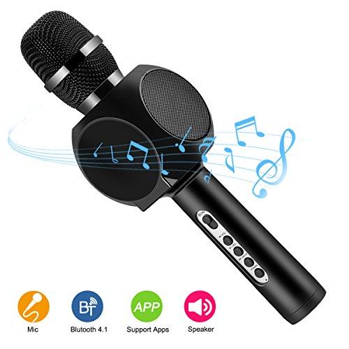 Drahtlose Bluetooth Karaoke Mikrofon Lautsprecher HURRISE Echo Rauschunterdrückung Mikrofon mit Aufnahme von Sprach für Smartphone iPad PC (Schwarz)