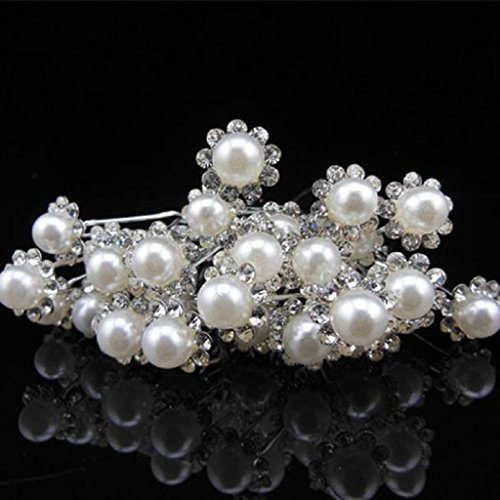 Overdose 20Stück Hochzeit Braut Perle Blume Kristall Haarnadeln Clips Bridesmaid (Womens Multi Kristall Perlen)