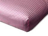 Baumwoll-Spannbetttuch für Kinder - kindgerechtes Design mit kleinen Karos im Alloverdesign - erhältlich in 4 Farben kombiniert mit Weiß und in 3 verschiedenen Größen, 70 x 140-150 cm, fuchsia