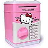 Charnalia Hello Kitty Money Safe With Password Piggy Bank For Kids Coin Bank, ATM (Pink)
