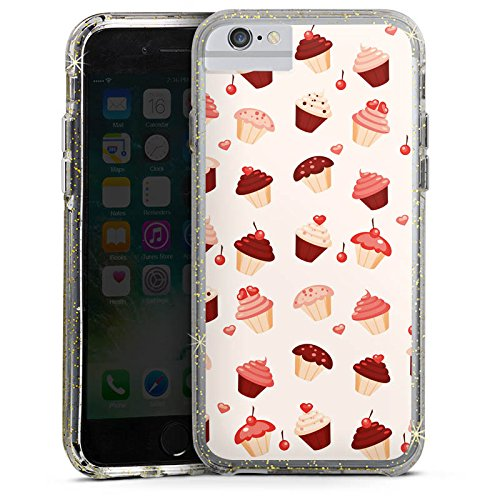 Apple iPhone 7 Bumper Hülle Bumper Case Glitzer Hülle Sweet Cupcake Swets Bumper Case Glitzer gold