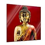 Glasbild - Buddha II - 50 x 50 cm - Deko Glas - Wandbild aus Glas - Bild auf Glas - Moderne Glasbilder - Glasfoto - Echtglas - kein Acryl - Handmade