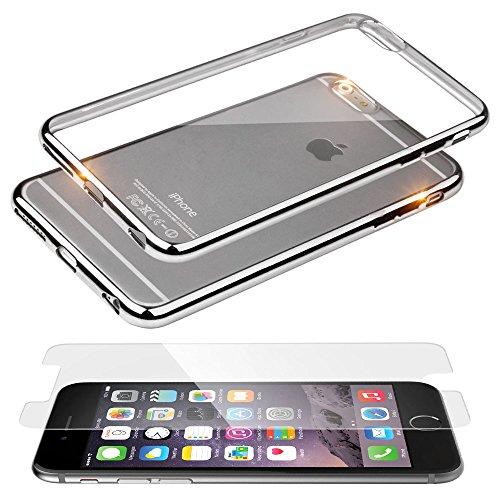 EGO® TPU Silikon Case mit Panzerglas für iPhone 6 Plus und iPhone 6S Plus Bling Schutz Hülle Silikon Tasche Schutzhülle Transparent Glänzend Schale Ultra Dünn SILBER SILBER mit GLASS