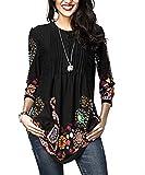 Aleumdr Donna T Shirt Camicetta con Bottoni Blusa Manica 3/4 Floreale Maglietta Maniche Lunghe Donna Elegante Tunica Donna- M(EU40-42)