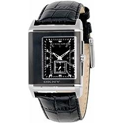 DKNY Ny1374pour homme Cadran noir, bracelet cuir noir Watch