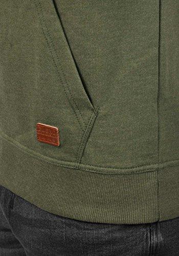 BLEND 703585ME Sales Herren Kapuzenpullover Hoodie Sweatshirt mit Kapuze und optionalem Teddy-Futter sowie Crossover-Kragen aus hochwertiger Baumwollmischung Meliert Ivy Green (77026)