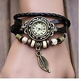 Yistu Watch,Womens Vintage Leaf Beads Wrist Watches (Black)