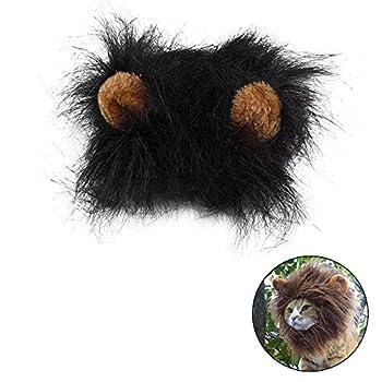 Déguisement pour chat crinière de lion perruque avec scratch Noir