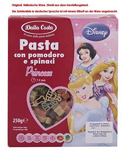 Dalla Costa Pasta con Pomodoro e spinaci Disney Princess 6 x 250g = 1500g Teigwaren aus Hartweizen mit Tomaten und Spinat - Disney-lebensmittel-etiketten