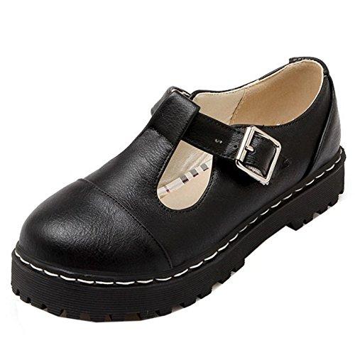 TAOFFEN Femmes Escarpins Confortable Plateforme T-Strap Chaussures De Boucle Noir