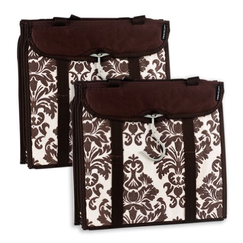 travelon-hanging-handbag-organizer-set-of-2-chocolate-damask