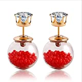Lady Rainbow Red Glass and Cubic Zirconi...