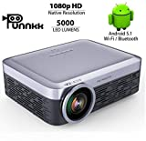 Punnkk Android F1 Projector Native 1080P Full HD 5000 Lumens 4k LED Video with in-Built HI-FI Sound